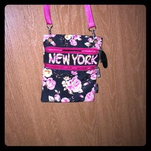 Black and white floral print purse